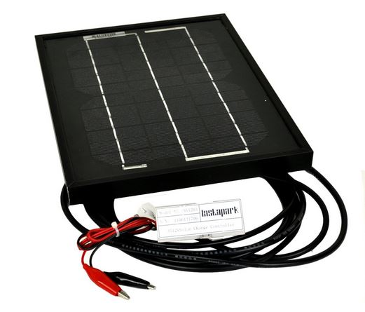Instapark® NEW All Black 5W Mono-crystalline Solar Panel with 12V Solar Charge Controller