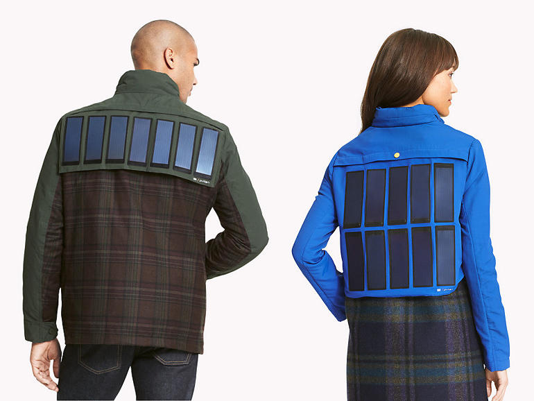 tommy hilfiger solar device charging jacket